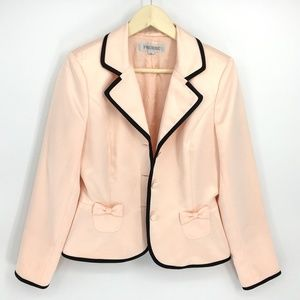 Phoebe Pink Satin Bow Pocket & Cuff Notched Blazer